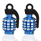 TRIXES Blue Pair of Hand Grenade Alloy Valve Dust Caps Motor Bike Car