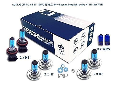 AUDI A3 8P1 2.0 FSI 110kW, Bj 05.03-06.08 xenon headlight bulbs H7 H11 W5W H7