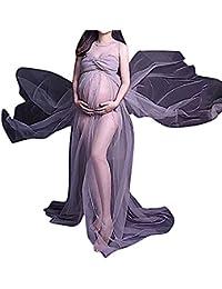 Flora, Damen Schwangerschafts Überlanges Feenkleid Durchsichtig Gaze Zurückgebunden Schlitze