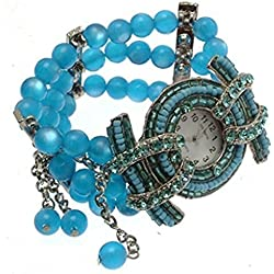 Ladies fashion bracelet watch blue bead design WAB106