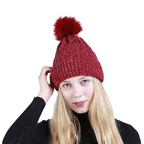 HCHD Frauen warme Mütze Stricken große Flauschige Kugel wellenförmige Streifen Wintermode Skimütze, Purplish Red (Große Frauen Für Stricken Mützen)