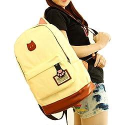 Tongshi hombres mujeres jóvenes Campus Girls viaje Mochila los bolsos de escuela Bolsas de deporte (Beige)