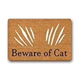 Eureya Doormat Non-Slip Bathroom Living Room Kitchen Area Rugs Door Mats Floor Mat for Indoor/Outdoor 40x60cm (Beware Of Cat)