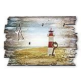 Kreative Feder Leuchtturm Rot Designer Schlüsselbrett, Hakenleiste Landhaus Style, Shabby aus Holz 30x20cm, HSB038