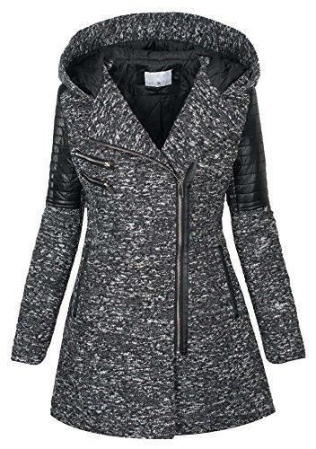 Parka invernale da donna cappotto in lana maltinto woll giacca similpelle B270 grigio scuro 48