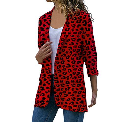 BHYDRY Las Mujeres Manga Larga Cardigans Abrigo Leopardo