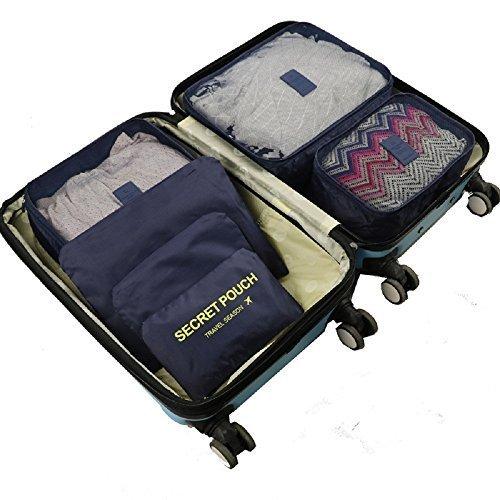 VECHOO Zeit-/platzsparende Kleidertaschen-Set 6-teilig Reisegepäck Kofferorganizer Wäschesack, Farbwahl für Kleidungsstücke Kosmetik Schuhe Socken Unterwäsche BHs(Schwarzblau)