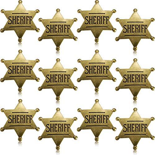 Halloween Kostüm Sheriff - WILLBOND 12 Stücke Metall Sheriff Abzeichen Bronze Western Cowboy Abzeichen Stellvertretender Sheriff Spielzeug Abzeichen für Halloween und Party Gefallen Kostüm Stütze