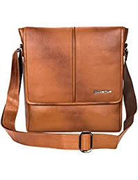 Genuine Leather Sling Bag For Men - Cosmus Colorado TAN Leather Bag For IPad