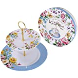 Creative Tops Katie Alice English Garden Shabby Chic 2-Tier Porcelain Cake Plate Stand - Multi-Colour