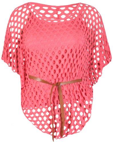 Purple Hanger - Top Femme Manche Chauve-Souris Encolure Crochet Ceinture Empiècement Filet Grande Taille Corail