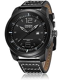 De hombre Fashion Sports reloj de cuarzo de alta calidad correa de piel color negro
