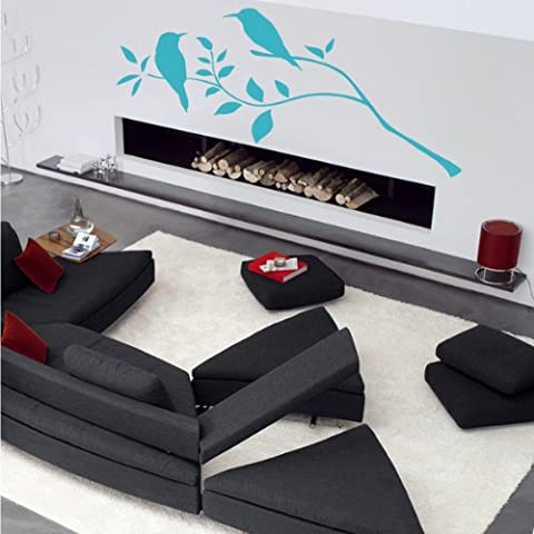 Indigos UG 4052166072571 W436 Adesivi da Parete, Modello Uccelli Impianto, 80 x 56 cm, Turchese