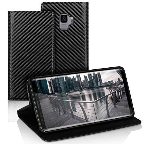 Silverback Samsung Galaxy S9 Hülle - Handyhülle mit Standfuß Magnet Verschluss - Tasche Book Case Etui Schutzhülle Stoßfest Klappbar Carbon Schwarz Metallic Carbon Tasche