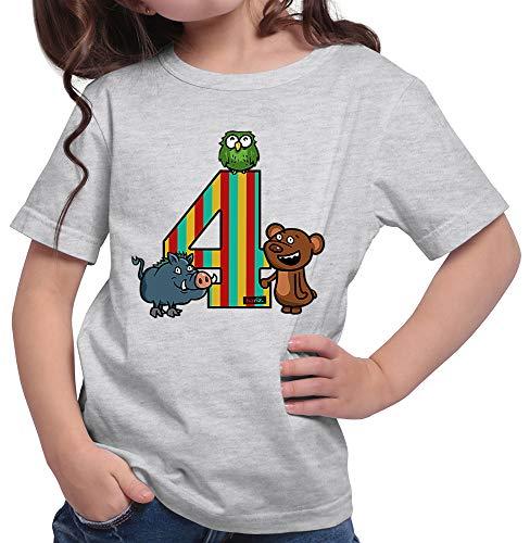 HARIZ  Mädchen T-Shirt Tiere Wald Bär 4 Geburtstag Kinder Plus Geschenkkarte Hell Grau 152/12-13 Jahre