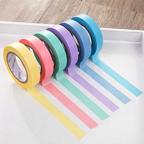 Masker Tape, Craft Multi Colored Masker Tape [6 Pack verschiedene Farbkodierte Rollen,]-Fun DIY Arts Supplies Kit m-jump 33 ft Washi Tapes für Kunst und Handwerk, Scrapbook Abdeckpapier