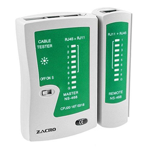 Zacro Tester Lan Professionale Network Tester Rete Multifunzionale Cable Tester per Cavi Rete Lan RJ45 RJ11 RJ12 CAT5 CAT 6 UTP Reti