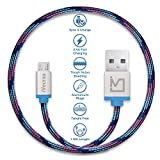 #10: iVoltaa Pixie Micro USB to USB Premium Nylon Braided (1 Meter/ 3.3 Feet) Cable - With Quick Charging (2.4 Amp) and High Speed Data Sync (Kyber Blue)