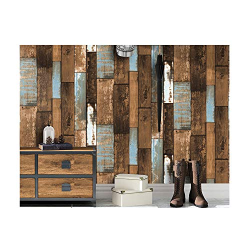JJHH Retro Faux Holz Plank Tapetenrollen Vintage Vinyl Holz Tapetenwandbilder Office Home Küche Badezimmer Hintergrund Wanddekoration,Braun -