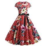 OverDose Damen Urlaub Karneval Schlank Stil Frauen Vintage Floral Bodycon Lässige Abendgesellschaft Prom Maskerade Tanz Unregelmäßigen Swing Dress Dirndl(A-Rot,EU-40/CN-XL)