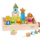 Rolimate Blocchi di costruzione in legno con box-33 blocchi in 17 colori e 11 forme