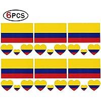 Hemore Pegatinas Tatuajes Tattoos Nacional de Colombia,Pegatina Temporal Bandera National para Cara con 6 PCS para Los Fanáticos del Fútbol de 2018 FIFA Copa Mundial