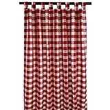 SeGaTeX home fashion Landhaus-Vorhang Karo mit Edelweiß rot-weiß Deko-Schlaufenschal mit 8 Schlaufen Übergardine