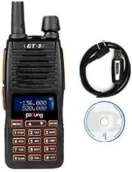 Pofung GT-5 Radio de dos vías , Doble Banda VHF / UHF 136-174 / 400-520MHz Transceptor (2*GT-5 + Cable de Programación)