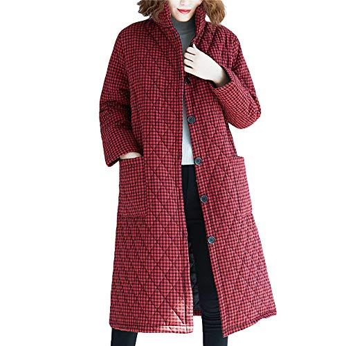 BBestseller Chaqueta de algodón y Lino étnica Estampada para Mujer,Cárdigan Mujeres Elegante Escudo Abrigos de Invierno Rompevientos