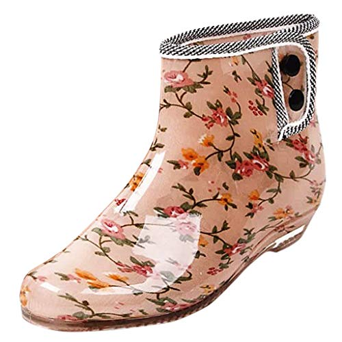 Lazzboy Women Rain Boots Galoshes Wellies Waterproof Rubber Solid Dot Floral Print Gardening Slip-on Ladies Ankle Bootie