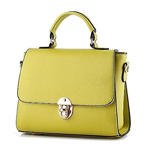 koson-man en PU imitation cuir pour femme Vintage Boucle Beauté Sacs Sac à Poignée Supérieure Sac à main, jaune (Jaune) - KMUKHB098
