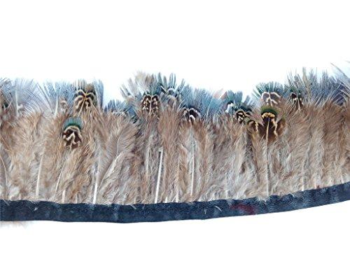 Preisvergleich Produktbild ERGEOB Fasan Federn Stoffstreifen 2 meter - Ideen für die Bekleidung,  Kostüme,  Hüte. grün