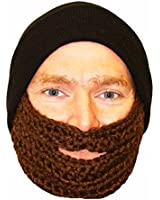 Mens Rock Jock Fuzz Face Hat with Detachable Knitted Beard - Beanie Hat