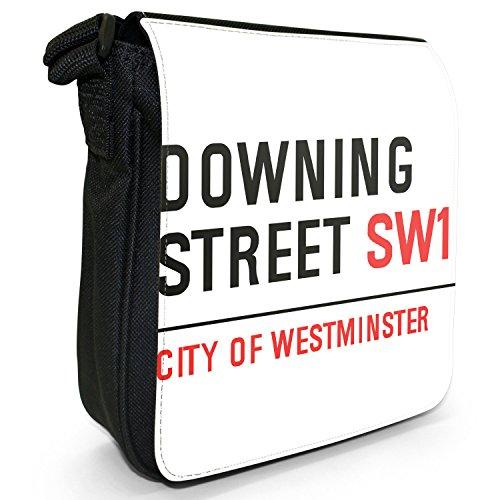 Attrazioni famose di Londra Street, borsa a spalla in tela, piccola, colore: nero, taglia: S Downing Street Prime Minister