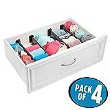 mDesign 4er-Set Schubladen-Organizer – dank verstellbarer Trennelemente Schublade organisieren – Schubladeneinsatz für Küche, Bad oder Schlafzimmer – braun