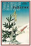 Kilburn Davos Parsenn Suisse Ski Retro Creative Wall Decoration Personality Tendance Fond Simple Style Fer Peinture...