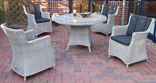 Destiny Sitzgruppe Luna Vintage Weiß Garnitur Gartenmöbelset Polyrattan 9 teilig