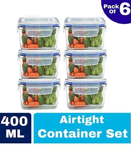 HARISWARUP's Plastic Airtight Food Storage Container for Fridge with Lid for Meal, Food, Rice, Pasta,Pulses, Cereals, Fruits and Vegetables Microwave Safe Storage Box Container Jar (Clear (Square), 6)
