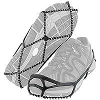 Tercera A Tracción Cleats - Pinzas Antideslizantes para Hielo y Nieve, Agarre Sobre Zapatos, Botas de tracción, Pinchos de Goma, Cadena de Hielo para Caminar, Trotar, o Senderismo en Nieve y Hielo