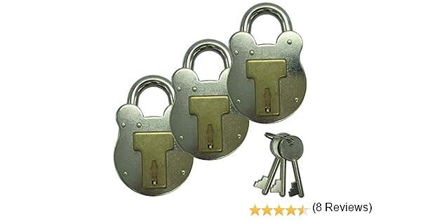 Sepox Lot de 3 cadenas Old English en acier galvanis/é de 50 mm et laiton massif avec 3 cl/és