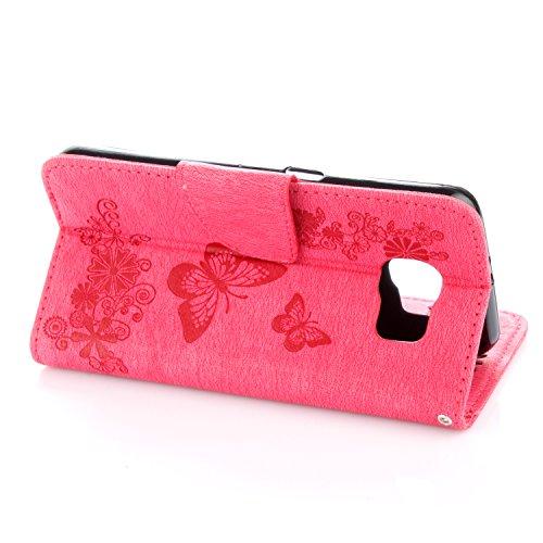Cover Samsung Galaxy S6, Alfort Custodia Protettiva in Pelle Verniciata Goffrata Farfalle e Fiori Alta qualità Cuoio Flip Stand Case per la Custodia Ci sono Funzioni di Supporto e Portafoglio Chiusura Rosso