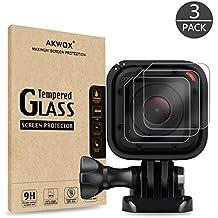 [6 Stück] Schutzfolie für GoPro HERO 4 Session/GoPro HERO 5 Session, Akwox 0.33mm 9H Härte Kratzfest Panzerglasfolie (4 Stück) + Schutzhülle für Kameralinse (2 Stück)