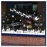 Tuopuda Weihnachtssticker Weihnachten Rentier Schneeflocken Stadt Removable Vinyl Fensterbilder Fensterdeko Weihnachtsdeko Weihnachten Wandaufkleber Wandtattoo Wandsticker (weiß)