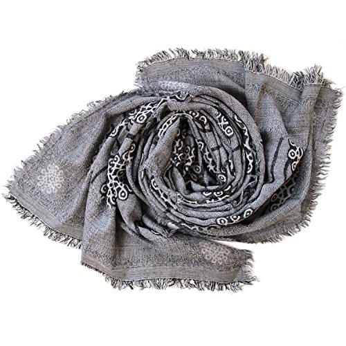DesiDo® Damen Schal Designer Halstuch Tuch Blumenmuster floral Oversize Stola Poncho Umhängetuch mit rundem ovalem Muster 100% Wolle Wollschal Wolltuch Wolldecke in grau schwarz blau (Schwarz/Grau) Designer-schal