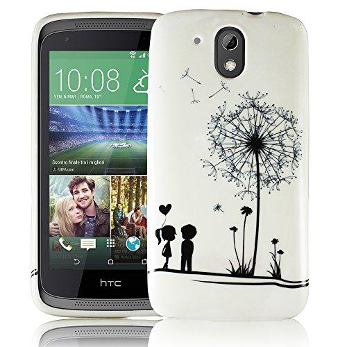 HTC Desire 526G PUSTEBLUME Silikon Silikon Schutz-Hülle weiche Tasche Cover Case Bumper Etui Flip smartphone handy backcover Schutzhülle Handyhülle thematys®