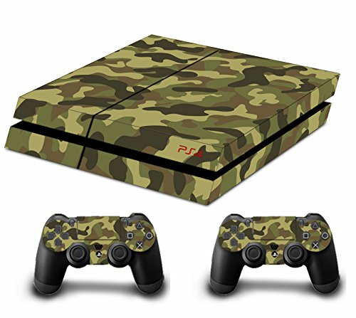 Camouflage Pleins Faceplates Skin Sticker Pour Console PS4 x 1 et le manette x 2 (soldier green)