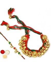 Ghasitaram Gifts Multicolor Bead 1 Rakhi Wih 1 Pouch Of Roli Chawal For Brother & Bhabhi(Men/Women)