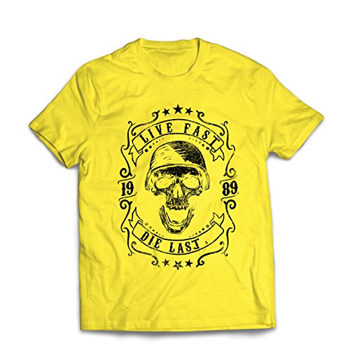 Männer T-Shirt Lebe schnell - stirb zuletzt, Fahrradermine, Motorradbekleidung, Liebe zum Fahren, tolles Geschenk für Biker (XX-Large Gelb Mehrfarben)