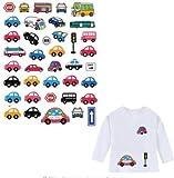 OPEN BUY Pegatinas infantiles transfer parche termoadhesivo coches y autobuses para pijamas, sudaderas, camisetas, canastillas.22 x 16 cm