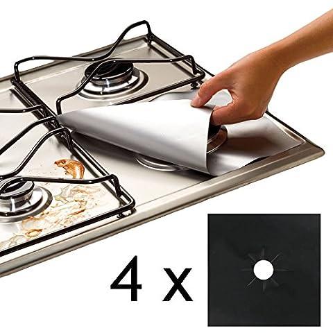 SPARES2GO Universal-Gasherd Schutzblätter Easy Clean zugeschnitten (4er-Pack, Schwarz)